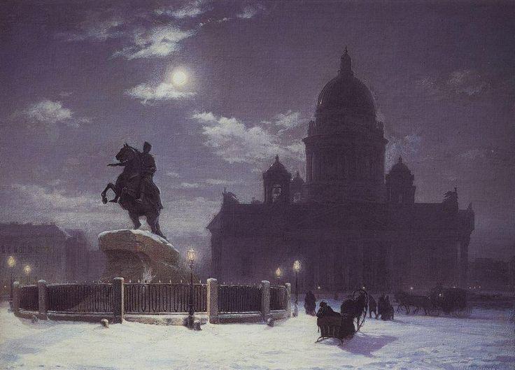 памятник Василий Суриков. Галерея живописи. Памятник Петру I на Сенатской площади в Петербурге. 1870