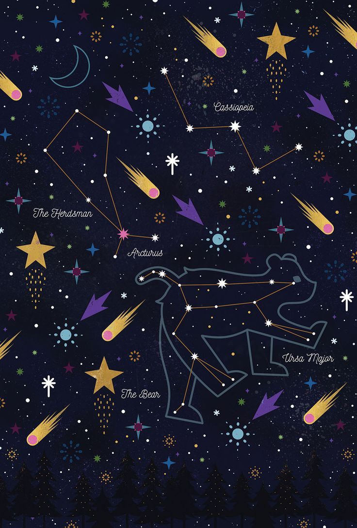 Carly Watts Illustration: Stargazing #stars #constellations #galaxy #bigdipper #ursamajor #folk #decorative #art #illustration