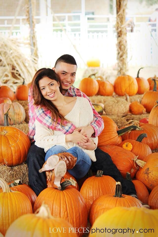 Pumpkin patch photo shoot, fall pictures, happy couples www.lovepiecesphotography.com