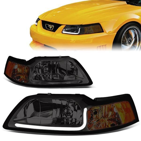 99 04 Ford Mustang Gt Led Drl Headlights Smoked Housing Amber Corner Ford Mustang Gt Ford Mustang Mustang