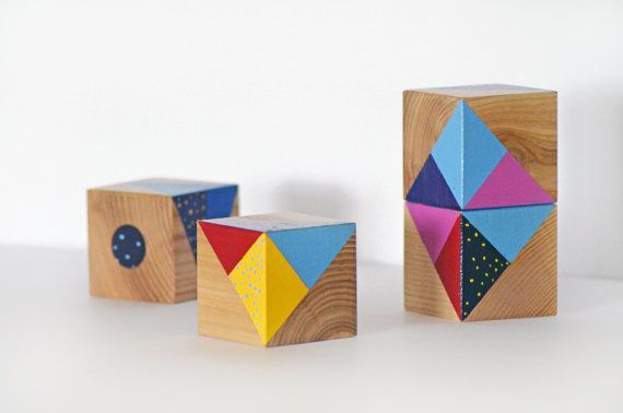 Wooden blocks set  Art toy  Kids room decoration  by Lapalai