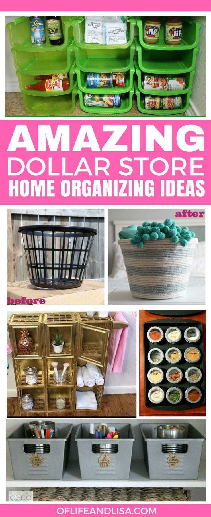 Ok, I'm seriously loving all of these DIY dollar store organizers for the home. I need to make a trip to Dollar Tree asap! Repin if you agree! #home #organizing #declutter #tidy #DIY #crafts