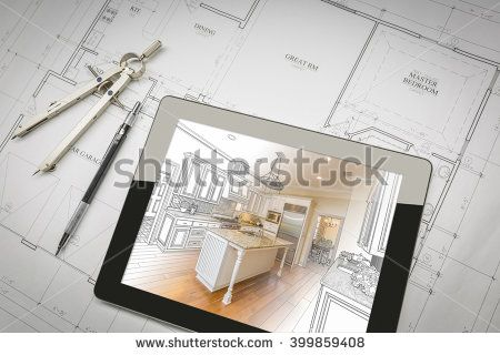 Computer Tablet Showing Kitchen Illustration Sitting On House Plans With Pencil and Compass. - stock photo
