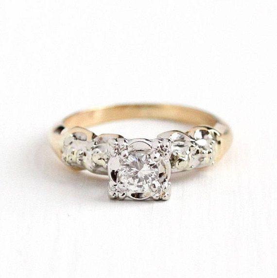 Sale Vintage Diamond Ring 1940s Size 5 Two Tone 14k White Etsy Diamond Rings For Sale Vintage Diamond Rings Wedding Rings Vintage