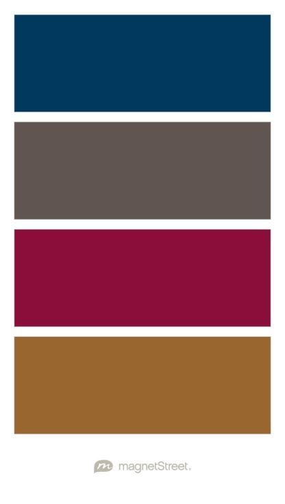 Navy, Slate, Burgundy, and Bronze Wedding Color Palette - custom color palette created at MagnetStreet.com