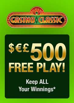 Casino Classic is offering all new real cash players $500 and 1 hour to make as much money at the casino as they can! All you need to do is download the software, register a real account and then sit back and enjoy your first hour on the house.