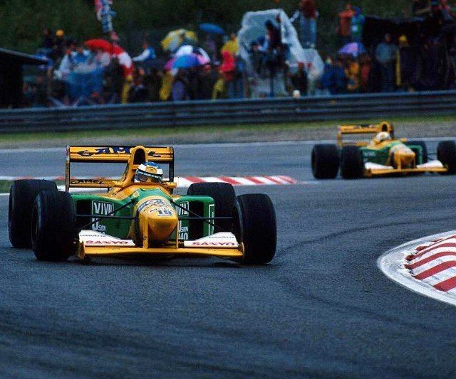 The two Benettons at Spa !!! #f1 #formula1 #formula #1 #mercedes #redbull #ferrari #williams #mclaren #honda #tororosso #sauber #lotus #forceindia #marussia #caterham #great #racing #epic #moments #love #crash #start ------------------------------------------- Follow other great F1 pages : @gp_epicmoments  @hugo_f1eureau @racing_moments @grand_prix_shots @race_photo @mdavies__f_1 @f1.images @zakir_munawer @lastlapinsider @gt_only_