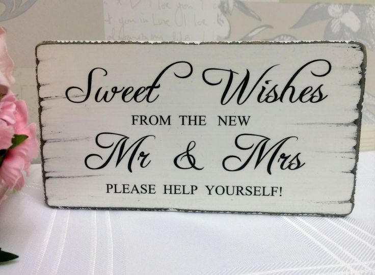 Wedding Sweet Table SWEET WISHES Candy Bar Vintage Wedding Table Sign