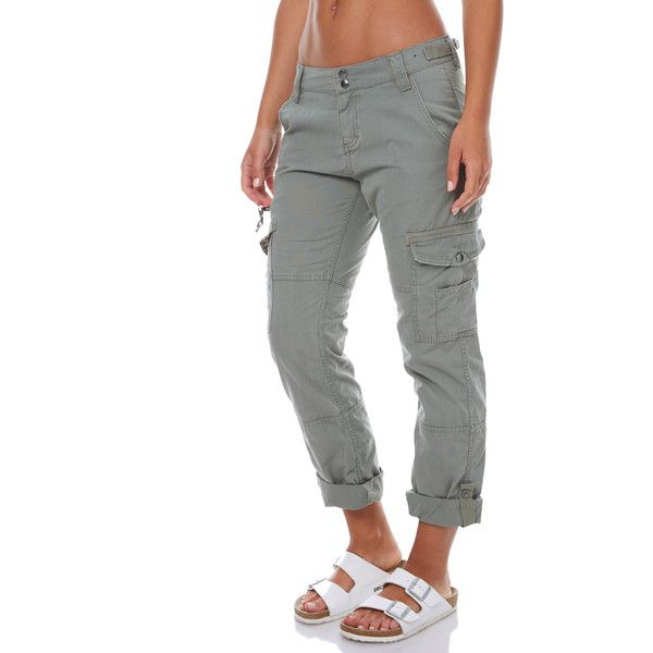 Rusty Army Cotton Multiple Pocket Zip Fly Snap Womens Cargo Pants (87 CAD) ❤ liked on Polyvore featuring pants, green, women, green cargo pants, white cotton pants, straight leg pants, army cargo pants and green pants