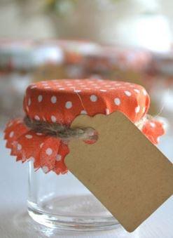 DIY jar favor. cover the top in cute fabric.