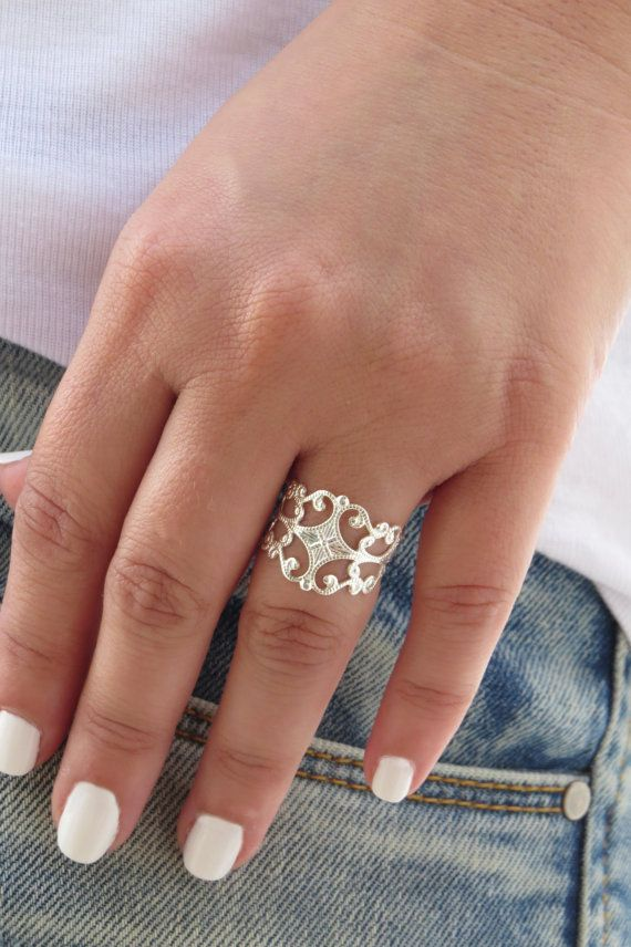 Adjustable Filigree Silver Floral Statement Ring, Statement Ring, Jewelry Gift for Woman