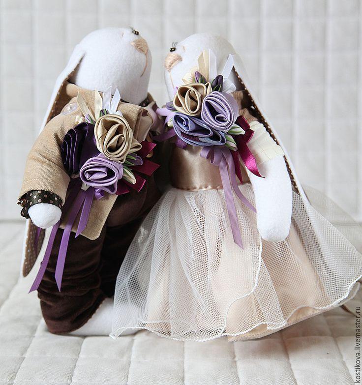 Купить Зайцы. Свадебные зайцы в цвете айвори, шоколад, слива. - бежевый, айвори, шоколад, шоколадный