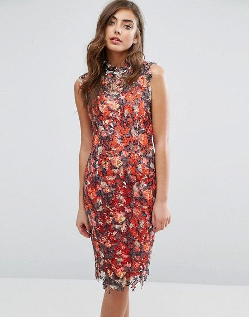 Paper Dolls High Neck Midi Dress in Multicoloured Lace
