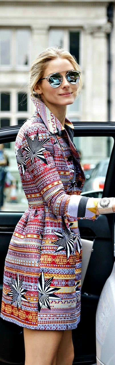 Olivia Palermo. Printed Coat. Love. She is the ultimate inspo.