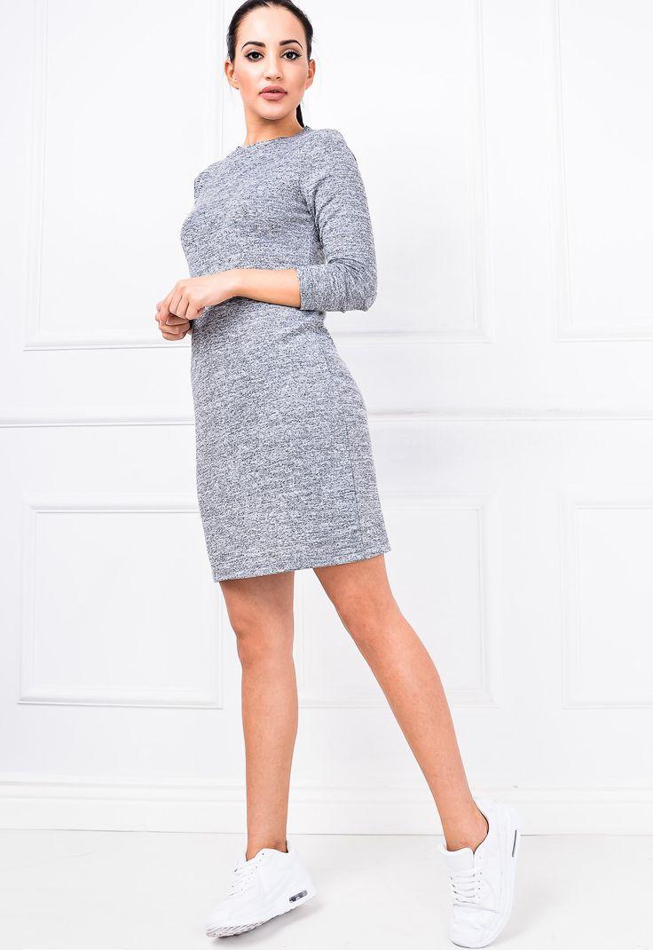 Melanżowa tunika sukienka długi rękaw