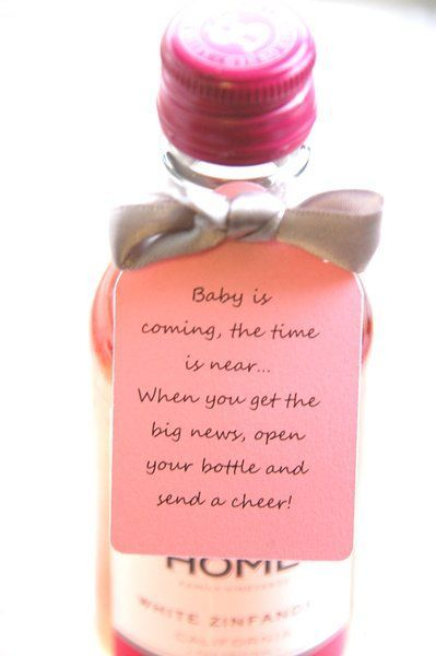 Baby is coming the time is near when you get the big news open your bottle and send a cheer ~ Mini Wine Bottle Thank You ~ Baby Shower Booze Thank You Gift Tags Pink for a Baby Girl