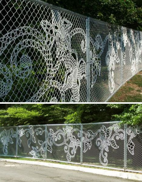 "This is ""high end"" metal fencing out of fhe Netherlands, but would be a great DIY wire tatting project if you're stuck with a plain chain link fence.."