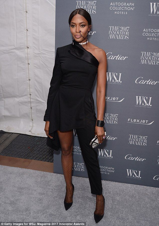 Fashion forward: Naomi Campbell was stunning in all black and a nose chain at the WSJ 2017 Innovator Awards in New York on Wednesday