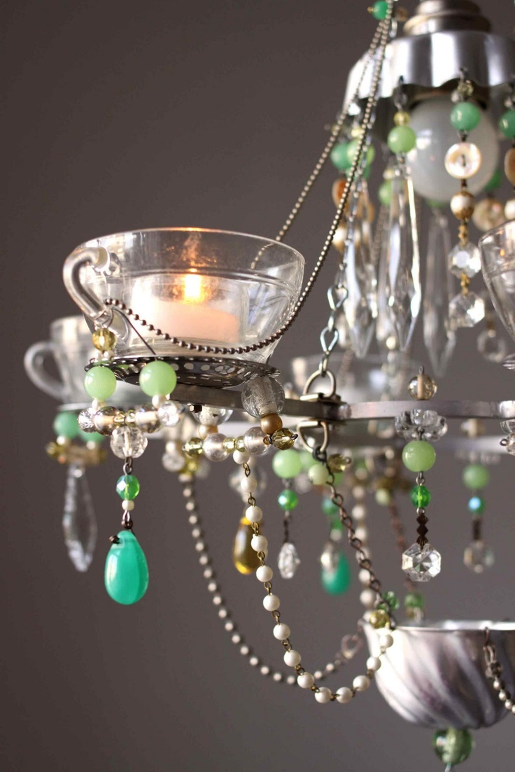 22 best found object lighting images on pinterest chandelier glass tea cup chandelier with pale blue and green crystals arubaitofo Choice Image