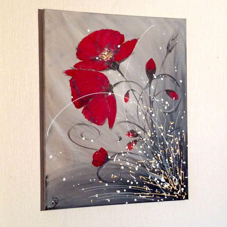 """TabLeau  acrylique abstrait """"amour de coquelicots"""""""