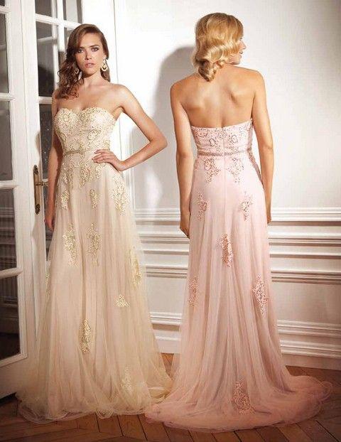 Luxusné spoločenské šaty korzetové v odtieni šampanskej farby, vhodné ako šaty na ples, šaty na prezlečenie pre nevestu.