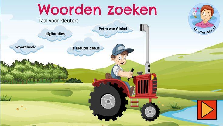 Digibordles taal, woordbeeld, kleuteridee.nl, geletterdheid thema de koe, cow game Kindergarten IWB.