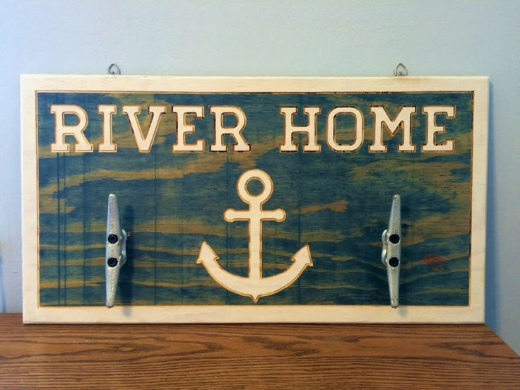 """River / Lake / Beach House / Home Wall Decor 26"""" x 13.5"""" Carved into Upcycled Wood Hand Painted / Stained with Boat Cleat Hangers by RummWoodWorx on Etsy"""
