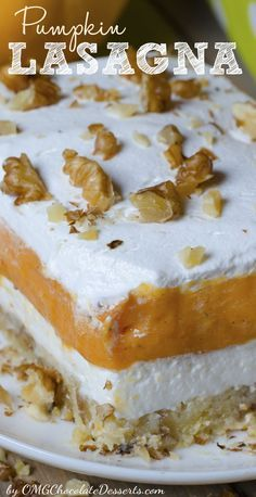 Decadent pumpkin layered dessert which mak you drooling - Pumpkin Lasagna by OMGChocolateDesserts.com