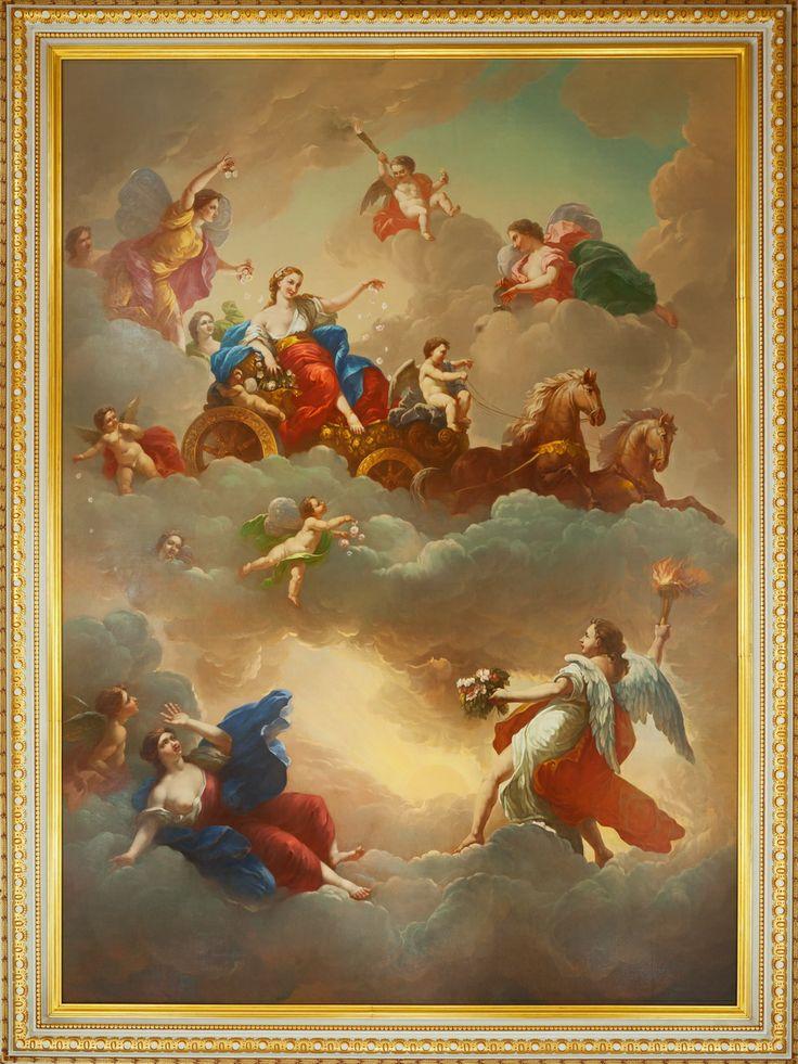 """Плафон """"Елизавета Петровна в образе Весны"""", копия с оригинала Б. Тарсиа, 1751. Большой дворец,  Парадная лестница"""