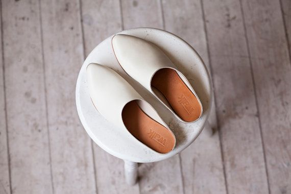NEW COLLECTION! Open back sandals / Cream sandals / Comfortable shoes / Slip on shoes / Leather mule / leather slippers /