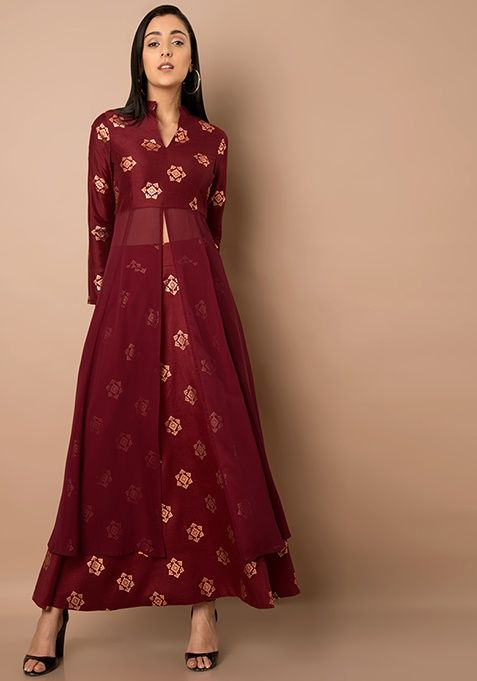 3f74254805ef Maroon High Slit Foil Print Maxi Tunic #Fashion #Indya #Traditional # Clothing #Trending #Summer #GoingOut #InstaLove #MaxiTunic #Maroon  #HighSlitFoil