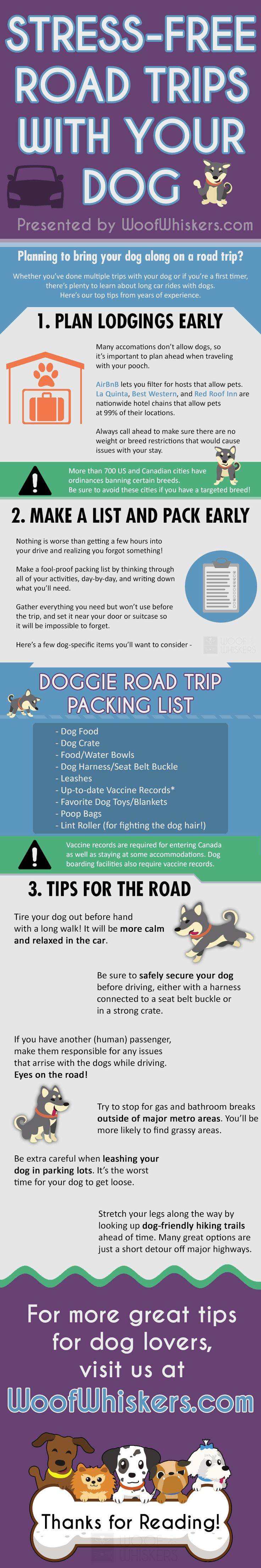 Awesome infographic guide to road trips with dogs! Perfect for dog owners going on a long car ride.