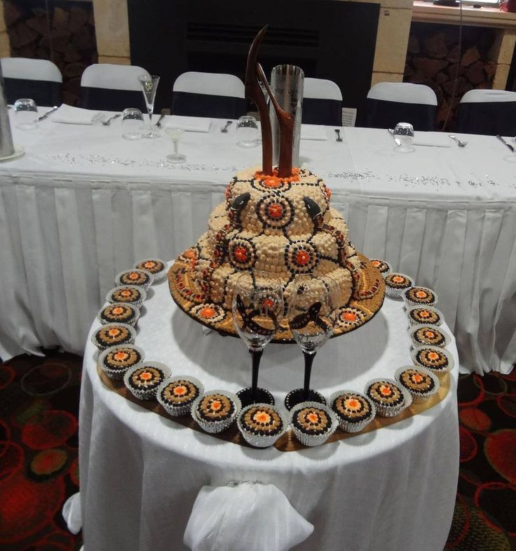Rainbow Serpent Wedding cake and cupcakes by Novy