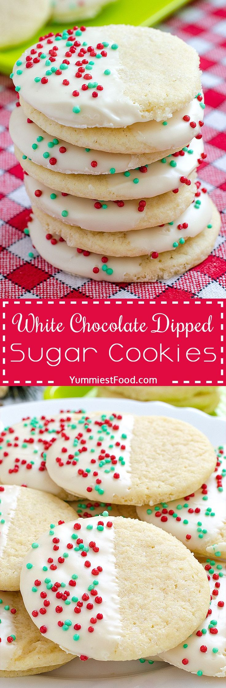 White Chocolate Dipped Sugar Cookies - a Christmas cookies must! So delicious, cute and very easy to make.. You need only few ingredients for these White Chocolate Dipped Sugar Cookies!
