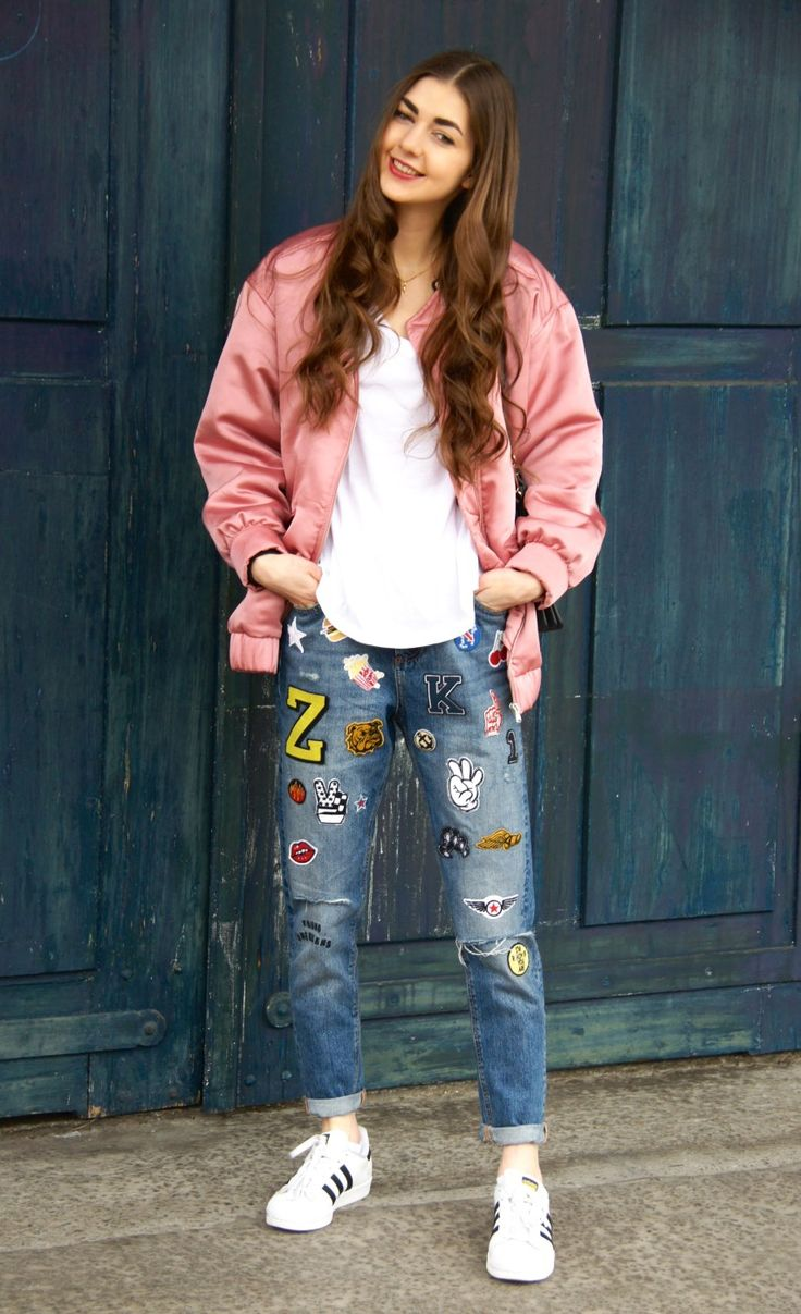 When a pink bomber jacket loves patched denim - new on carmitive.com                                                                                                                                                     More