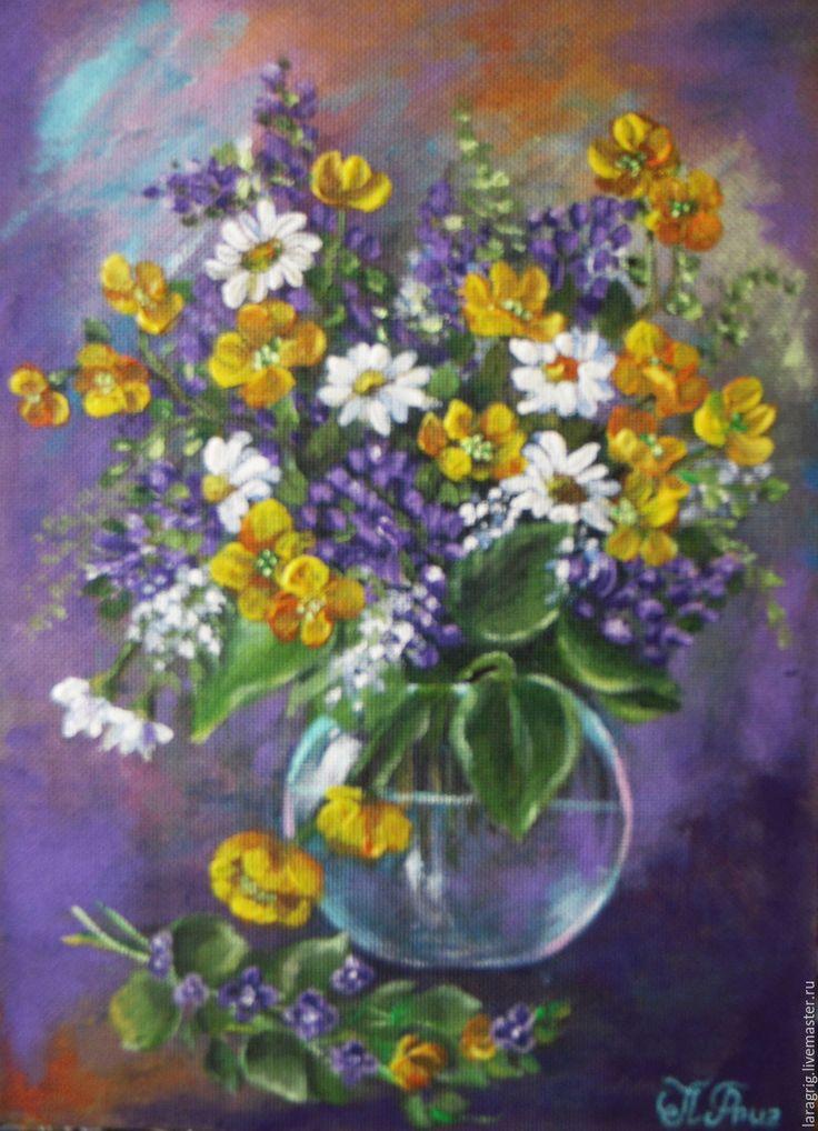 """Купить """"Полевые цветы"""" - картина акрилом - синий, полевые цветы, желтый, картина в подарок"""