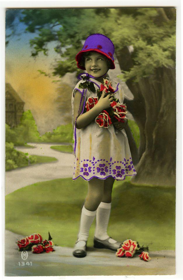 Ребенок дети 20-е годы 20 века милая маленькая девочка моды тонированные французский фото открытка | eBay