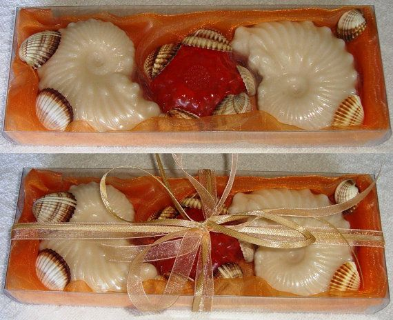 Natural Greek Sea Shells found on the beaches of Aegina island in a Merigold Color very nice decorated Handmade Gift Set : three musk Scent Luxury Soaps, two cream color shells and one smaller in orange color. Sea shells and natural handmade glycerin soaps for Greek summer and Greek Beach memories.  Unique, minimal style unusual summer gift !!!!