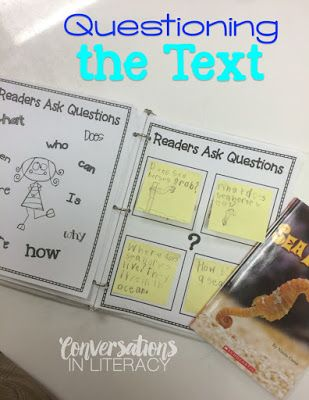 Questioning the Text Activity- Miniature Anchor Chart and Readers Ask Questions for Post It notes- FREEBIE
