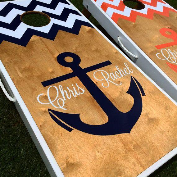 Nautical Anchor Monogram Cornhole Board Set Copy on Etsy, $215.00