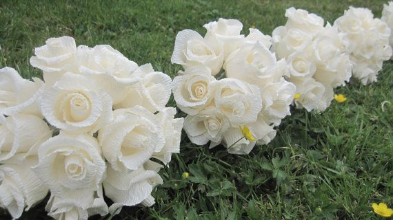 IVORY Roses WEDDING Bouquet bride bridesmaids set by moniaflowers