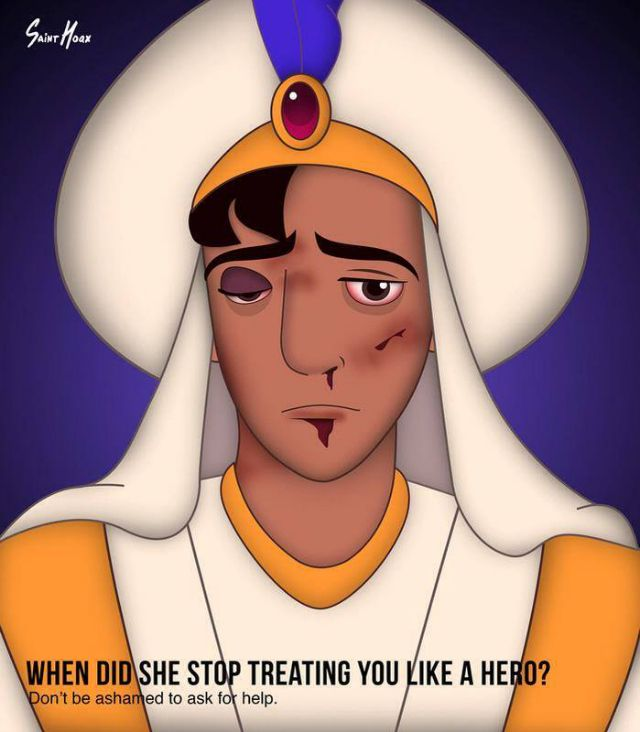 "Even Disney's Knights in Shining Armor Can Be Victims of Domestic Abuse -- the male counterpart to the ""When Did He Stop Treating You Like A Princess"" domestic abuse campaign"
