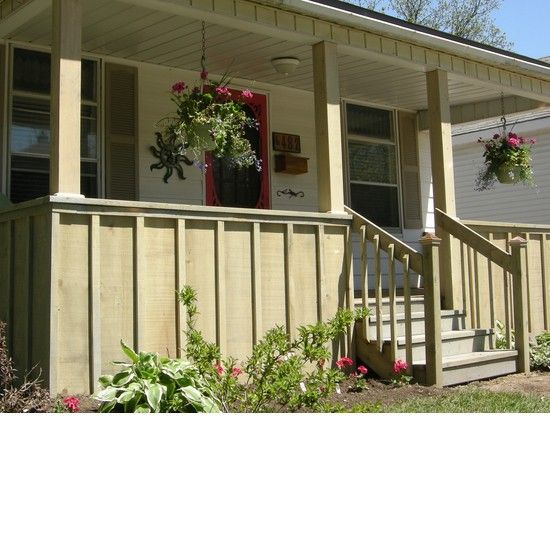 Custom wood front porch with custom steps