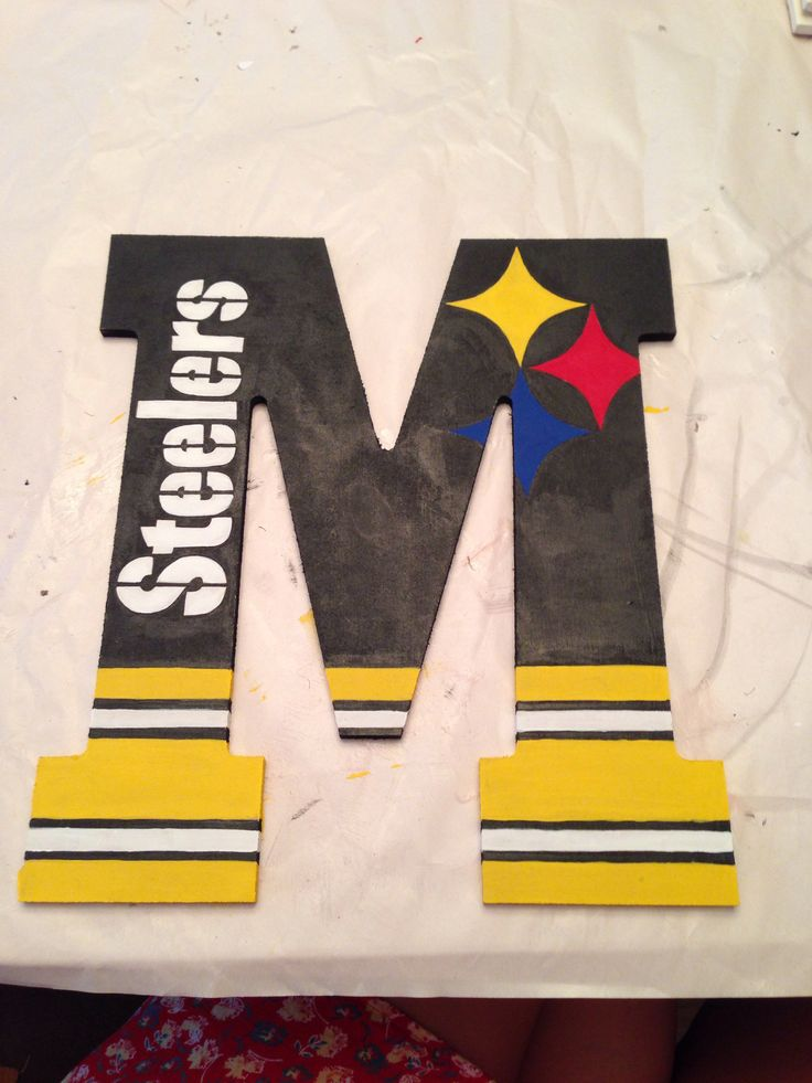 Good idea and can be used with other letters/ teams.  Steelers letter M DIY craft