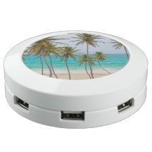 Tropical Beach Turquoise Water and Palm Trees USB Charging Station