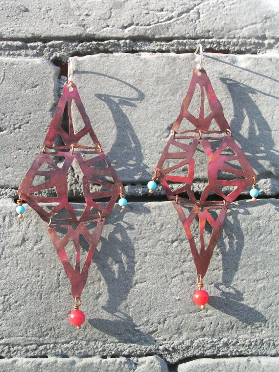 Hand hammered sawn copper earrings with green by jenmae21 on Etsy, $40.00