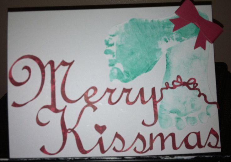 Merry Kissmas baby mistletoe footprint craft Christmas Card using my Silhouette Cameo. Variation of mistletoes project.