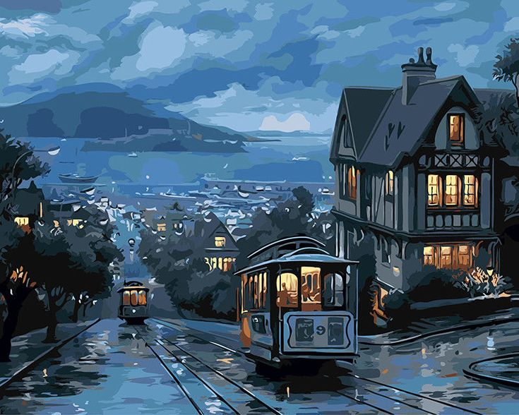 Self-Paint Oil Painting By Numbers Kit Railway City Art 40CMx50CM Canvas | eBay