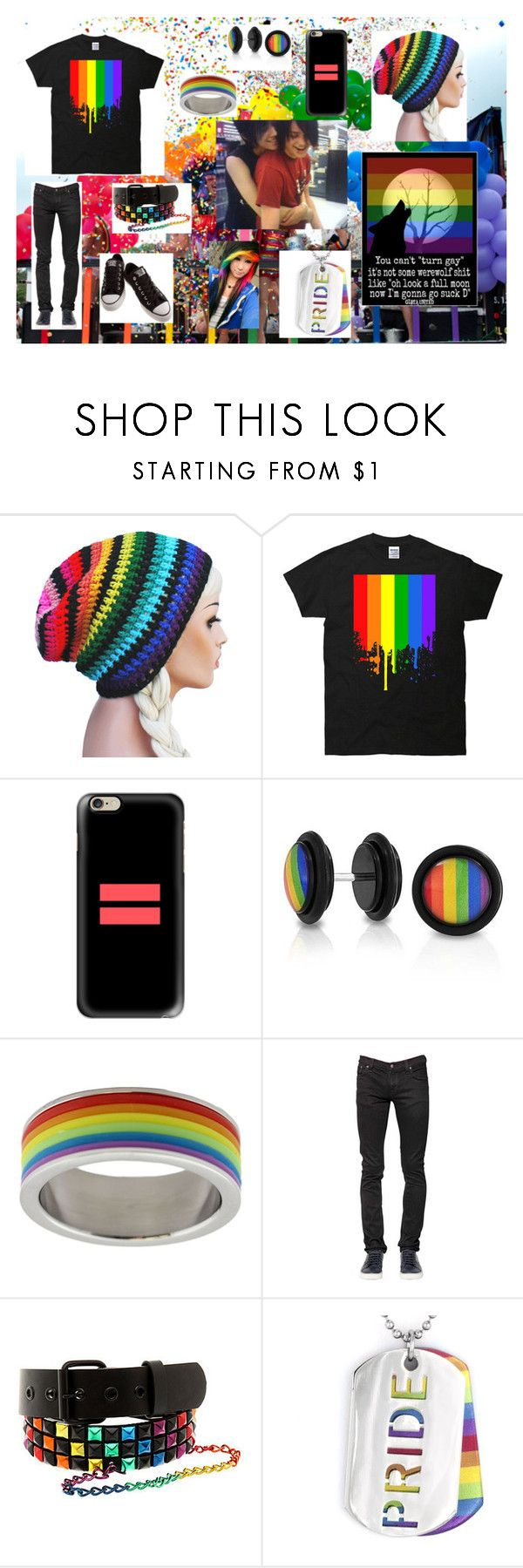 """Gay Pride 2k16"" by dino-satan666 ❤ liked on Polyvore featuring Casetify, Bling Jewelry, Rush Industries, Nudie Jeans Co., West Coast Jewelry and Converse"
