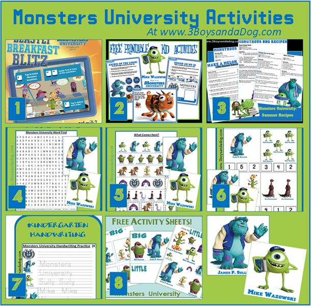 8 Monsters University Activities and Printables #freeprintables